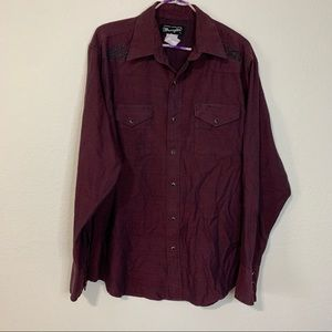 Wrangler Pearl Snap Embroidered Western Shirt L